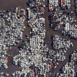 View landfill bird`s-eye view. Landfill for waste storage. View Stock Images