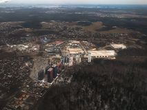 View from a landing airplane out the window of city, Moscow stock photo