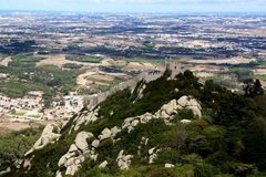Castelo dos Mouros. View of the landmark Castelo dos Mouros located on top of the Sintra National Park in Lisbon, Portugal Stock Photography