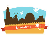 View on the landmarks of Jerusalem Old City Stock Photos