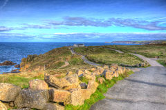 View of Lands End Cornwall Penwith peninsula in HDR Royalty Free Stock Images