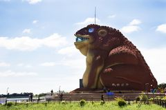 Phaya Tan public park and Phayakunkak Museum in Yasothon, Thailand. View landscape of Chi River with Naga statue and Phaya Tan public park and Phayakunkak Museum Stock Photography