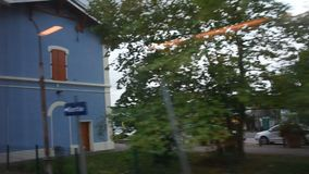 View landscape and cityscape of countryside from train running. From France go to Germany stock footage