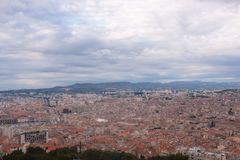 Aerial view of Marseille in France. View of the landscape / cityscape of the French city Marseille, with orange colour ceilings Stock Images