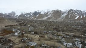 View landscape and cityscape of Leh Ladakh Village from viewpoint of Leh Stok Palace at Jammu and Kashmir, India