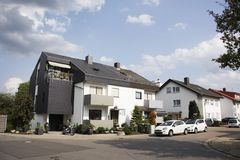 View landscape and cityscape with traffic road of Sandhausen district and village Stock Photos