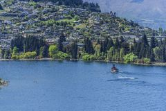 View of the landscape of lake Wakatipu, Queenstown, New Zealand. Copy space for text stock images