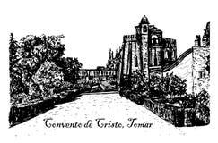 View landscape monastery Templar sketch  illustration Royalty Free Stock Photo