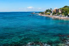 View landscape Salvador da Bahia, Brazil. View shore Salvador da Bahia, Brazil, showing Porto da Barra Beach and historical landmarks during summer royalty free stock images
