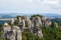 Sandstone rocks near Valdstejn gothic castle Royalty Free Stock Photo