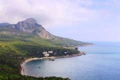 View of landscape with sea bay and mountains Royalty Free Stock Image