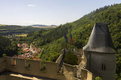 View on the landscape and a small village under the Karlstejn castle Stock Photos
