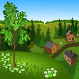 View of landscape of summer town from hill. Day, sky, skyline, forest, houses, tree, valley Stock Photos