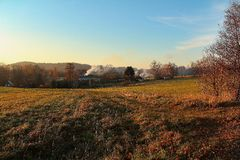View of the landscape at sunset. In autumn Royalty Free Stock Photos