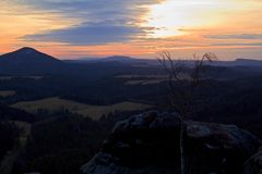 View of the landscape at sunset in National Park Bohemian Switzerland, Czech Republic. Photographed in spring, Jetřichovice, Czech Republic Royalty Free Stock Images