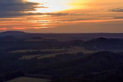 View of landscape at sunset in National Park Bohemian Switzerland, Czech Republic. Photographed in spring, Jetřichovice, Czech Republic Stock Image