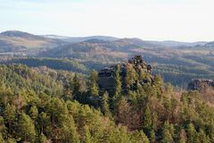 View of landscape at sunset in National Park Bohemian Switzerland, Czech Republic. Photographed in spring, Jetřichovice, Czech Republic Royalty Free Stock Photo