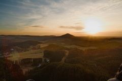 View of the landscape at sunset in National Park Bohemian Switzerland, Czech Republic. Photographed in spring, JetÅ™ichovice, Czech Republic royalty free stock photography