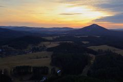 View of landscape at sunset in National Park Bohemian Switzerland, Czech Republic. Photographed in spring, JetÅ™ichovice, Czech Republic stock photography