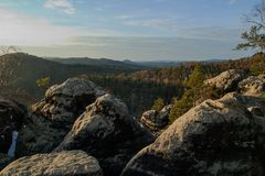 View of landscape at sunset in National Park Bohemian Switzerland, Czech Republic. Photographed in spring, JetÅ™ichovice, Czech Republic stock photos