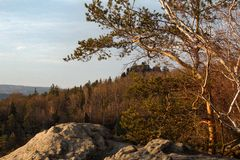 View of landscape at sunset in National Park Bohemian Switzerland, Czech Republic. Photographed in spring, JetÅ™ichovice, Czech Republic royalty free stock photography