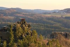 View of landscape at sunset in National Park Bohemian Switzerland, Czech Republic. Photographed in spring, JetÅ™ichovice, Czech Republic stock image