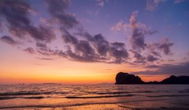 Sunset colourful Nature on Andaman Sea Thailand royalty free stock photography