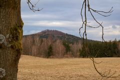 View of the landscape, Vlčí hora, Czech Republic. View of the landscape in spring, Vlčí hora, Czech Republic stock photos