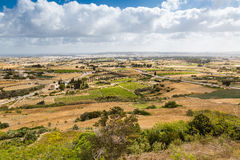 View of the landscape from the walls of Mdina on Malta. Royalty Free Stock Photography
