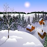 View of landscape of winter town from hill. stock illustration