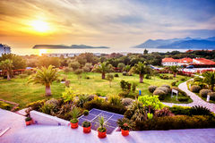 View of the landscaped garden in Dubrovnik and the sunset Royalty Free Stock Photo