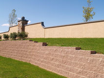 View of a landscaping retaining wall royalty free stock photo