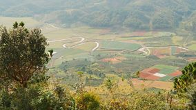 View from Lang Biang Mountain. Landscape at Mount Langbiang, place of excursions, central highlands near Dalat, Vietnam. Asia stock photo
