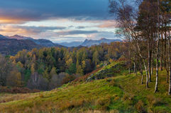 View of Langdale Pikes from Tarn Hows in Cumbria, UK Stock Photos