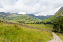 View of Langdale Valley Lake District Cumbria on walk to Blea Tarn from campsite Royalty Free Stock Photography
