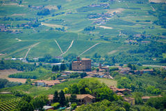 View of the Langhe hills with the Castle of Grinzane Cavour Royalty Free Stock Photography