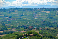 View of the Langhe hills with the Castle of Grinzane Cavour Royalty Free Stock Images