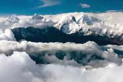 View from langtang of ganesh himal Stock Photography