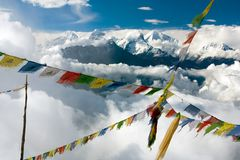 View from Langtang to Ganesh Himal with prayer flags Stock Image