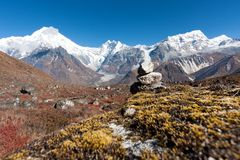 View of Langtang Valley with Mt. Langtang Lirung in the Background, Langtang, Bagmati, Nepal. View of upper Langtang Valley with Mt. Langtang Lirung (Langtang Royalty Free Stock Images