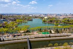 View at Langton Lake and Park area part of Tiejiangying Residential District stock images