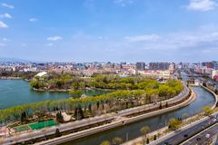 View at Langton Lake and Park area part of Tiejiangying Residential District royalty free stock photo