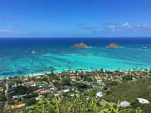 View of Lanikai Beach from Pillbox Trail, Oahu, Hawaii Royalty Free Stock Photo