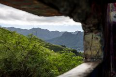 View of Lanikai from inside the Pillbox top of the hiking trail