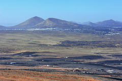 Labdscape of Lanzarote Island from mountain Guanapay, Canary Isl Stock Image