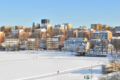 View of Lappeenranta harbor in winter Royalty Free Stock Image