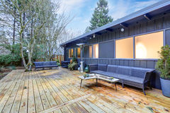 View of large back deck with outdoor furniture Stock Photos