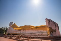 View of large Buddha statue sleeping posture with sky view at Sa. Tue temple,Ayutthaya,Unseen Thailand Royalty Free Stock Photos