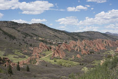 View of large dramatic red sandstone formations at Roxborough St Stock Images