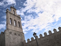 View of large fortified tower of great wall of Avila Royalty Free Stock Photos